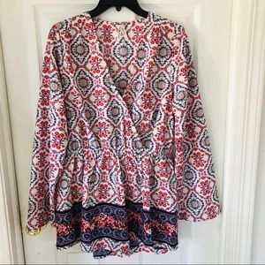 NWOT red Multi printed red & white romper SZ large